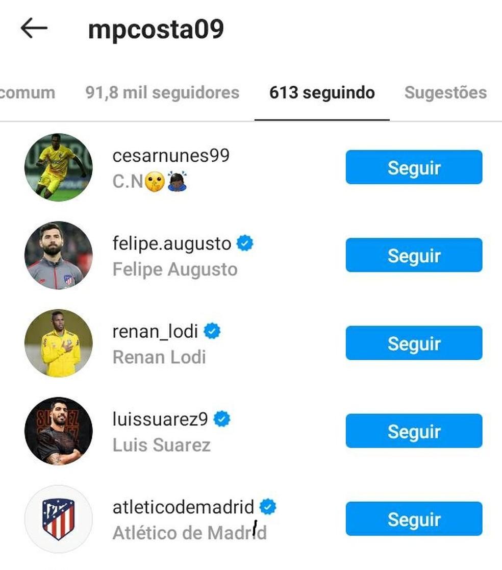 Marcos Paulo passa a seguir Atlético de Madrid nas redes sociais — Foto: Reprodução