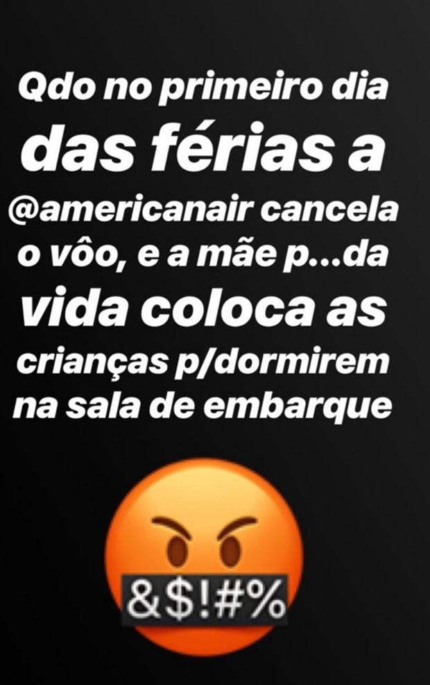 Na rede social, Luciano Huck conta que voo foi cancelado (Foto: Reprodução/Instagram)