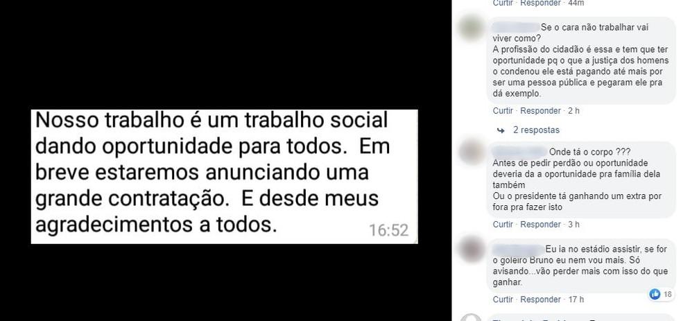 Torcedor apoia contratação do goleiro Bruno, enquanto outros criticam — Foto: Reprodução Facebook