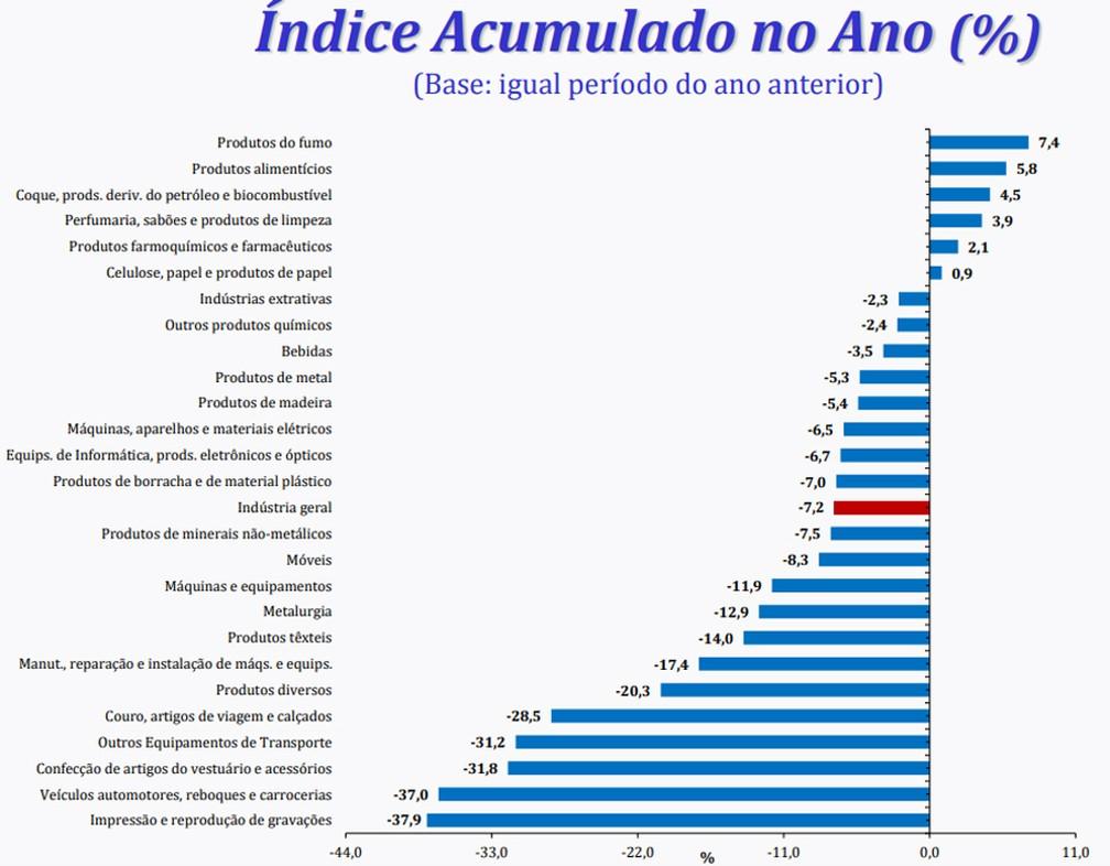 Apenas 4 dos 26 ramos pesquisados acumulam alta no ano — Foto: Divulgação/IBGE