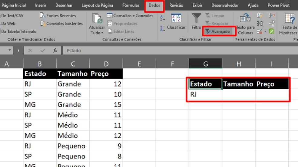 """Copie o cabeçalho da planilha com o termo de filtro, e na aba """"Dados, clique em """"Avançado"""" (Foto: Reprodução/Daniel Ribeiro)"""