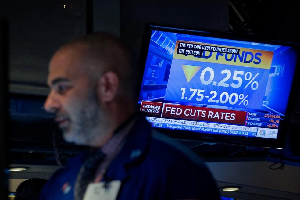 O Fed, o BC dos EUA, anunciou nesta quarta-feira (18) corte na taxa de juros pela 2ª vez seguida — Foto: REUTERS/Brendan McDermid