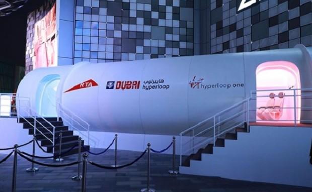 Protótipo da HyperLoop One apresentado em semana de inovação em Dubai (Foto: Reprodução Instagram/@hyperloopone)