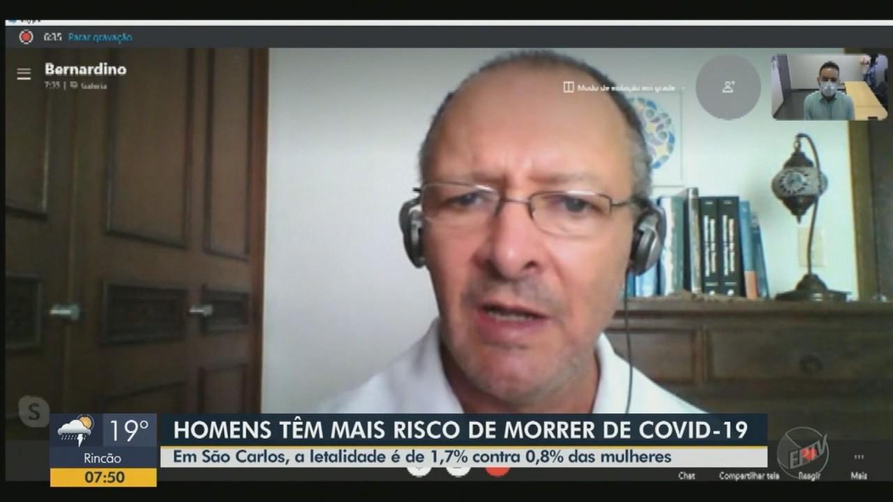 Pesquisa aponta que Covid-19 mata mais homens do que mulheres em São Carlos