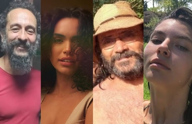 Irandhir Santos, Giovana Cordeiro, Almir Sater e Alanis Guillen já estão caracterizados para a novela gravada no Mato Grosso do Sul (Foto: Reprodução/Instagram)