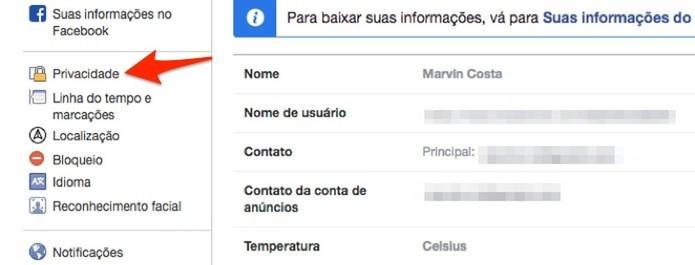 Acesse as configurações para um perfil do Facebook (Foto: Reprodução/Marvin Costa)