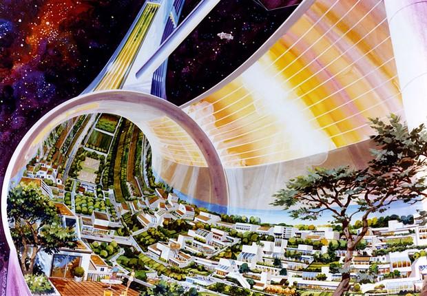 Interior das Colônias Toroidais (Foto: Rick Guidice/NASA Ames Research Center)
