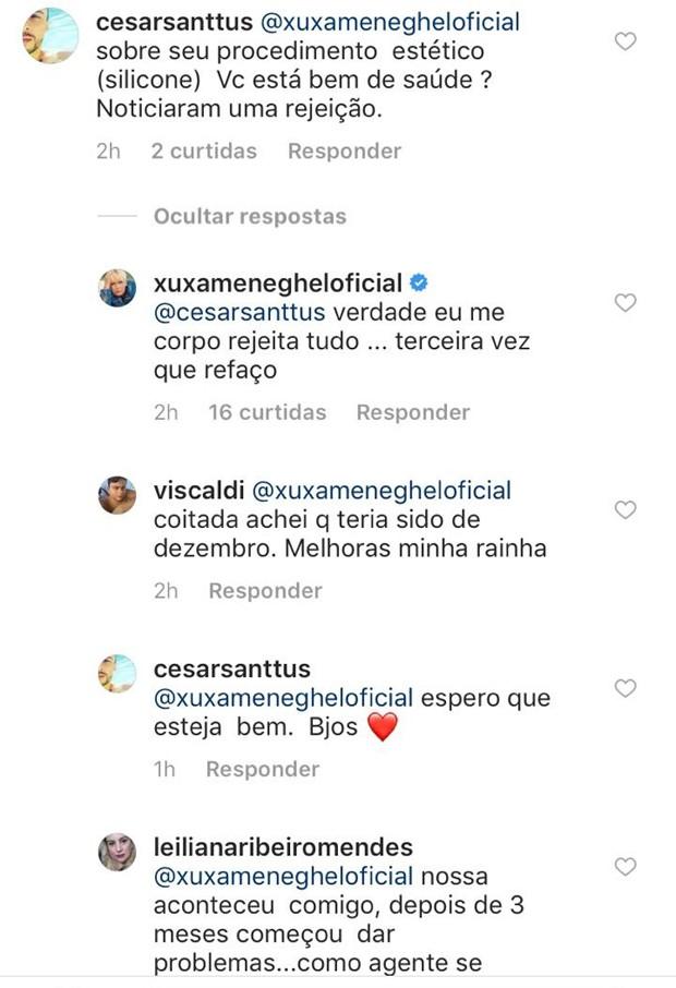 Xuxa interage com internauta (Foto: Reprodução/Instagram)