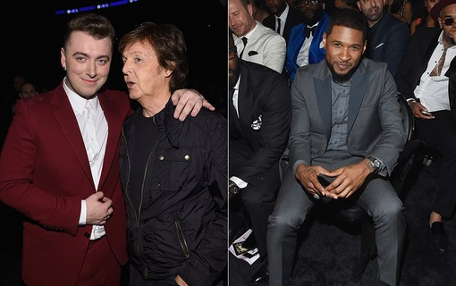 Sam Smith e Paul McCartney (à esq.); Usher (à dir.)