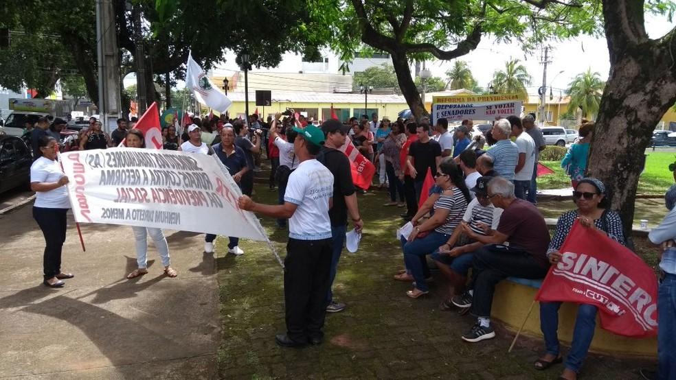 Ato contra reforma da previdência em Porto Velho (Foto: Hosana Morais/G1)
