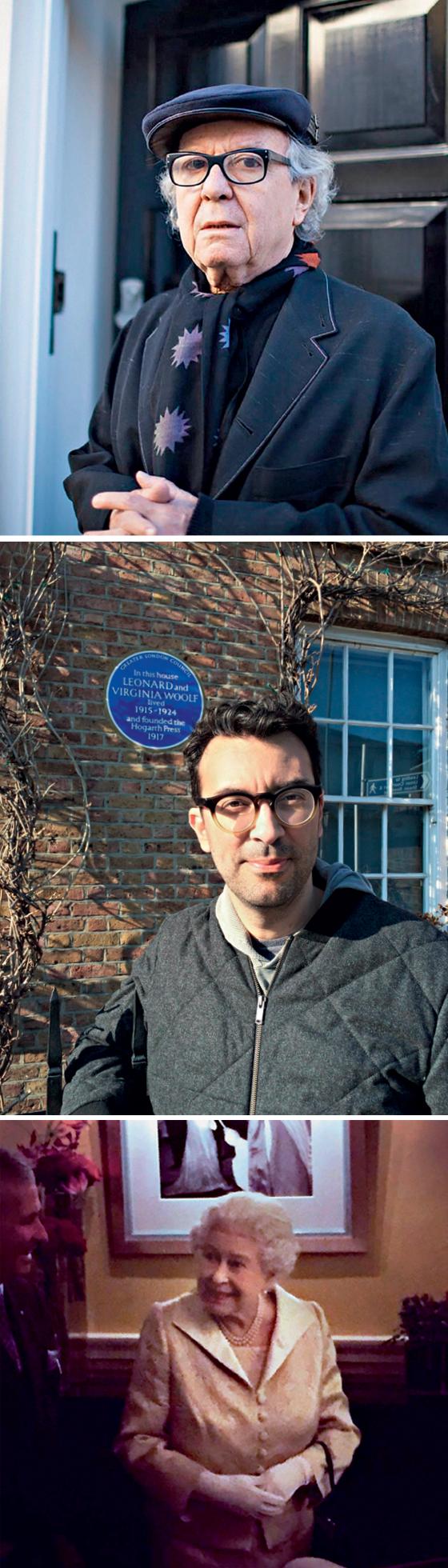 Olivetto em frente a sua casa em Londres; Laurentino diante da residência onde viveu a escritora Virginia Woolf; a rainha Elizabeth II, fotograda por Letícia, mulher de Dedé, em encontro casual num hotel londrino (Foto: Acervo Pessoal)