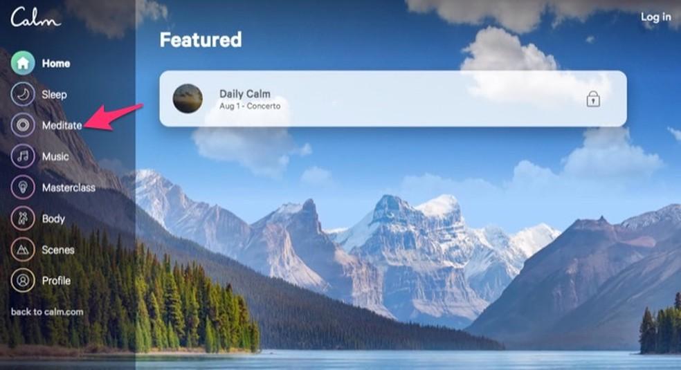 Ação para abrir as opções para conteúdos de meditação no site Calm ? Foto: Reprodução/Marvin Costa