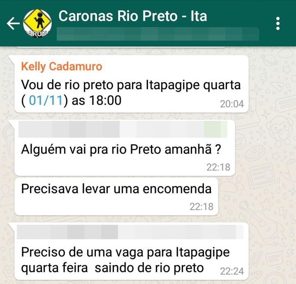 Kelly Cristina Cadamuro ofereceu carona em grupo de WhatsApp e foi encontrada morta (Foto: Reprodução/WhatsApp)