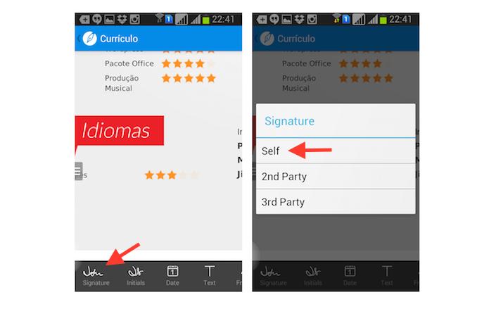 Acessando a ferramenta para criar uma assinatura do SignEasy para Android (Foto: Reprodução/Marvin Costa)