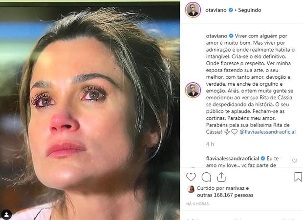 Otaviano homenageia a mulher, Flávia Alessandra (Foto: Reprodução/Instagram)