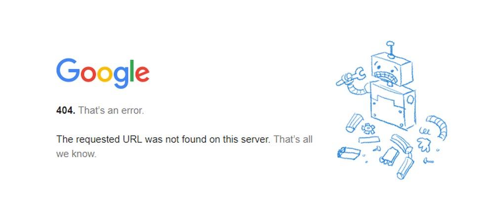 Erro 404 aparece no Gmail após login — Foto: Reprodução/TechTudo