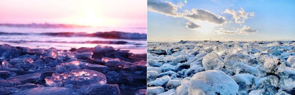 Moradores e turistas batizaram as peças de 'joias de gelo'