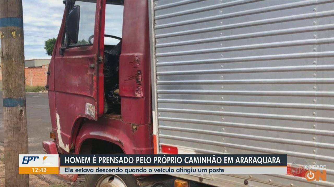 Idoso é prensado contra poste pelo próprio caminhão em Araraquara