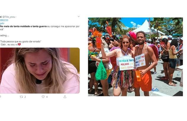 A frase que Gabi usou ao se declarar a Guilherme apareceu na fantasia de outros foliões de bloco (Foto: Reprodução/Twitter)