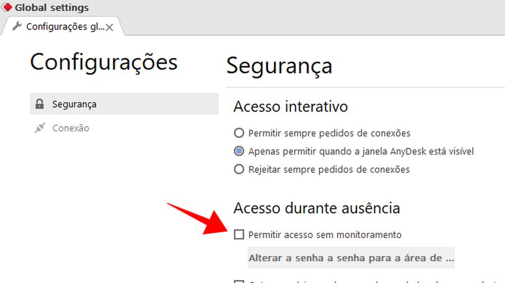 Habilite o acesso com senha ao seu computador via AnyDesk — Foto: Reprodução/Paulo Alves