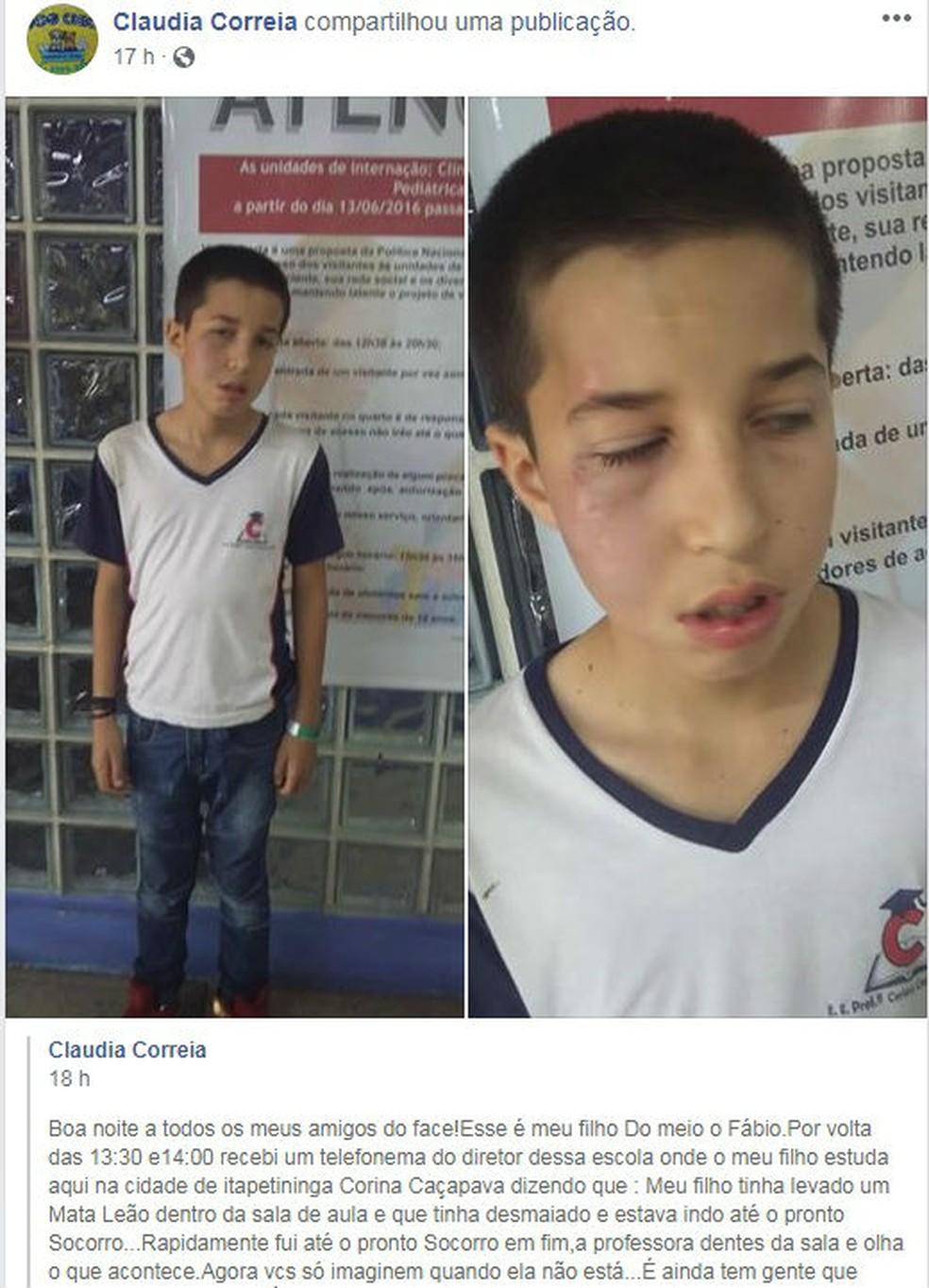 Mãe fez desabafo nas redes sociais depois de filho ser agredido dentro de escola em Itapetininga — Foto: Facebook/Claudia Correia/Reprodução