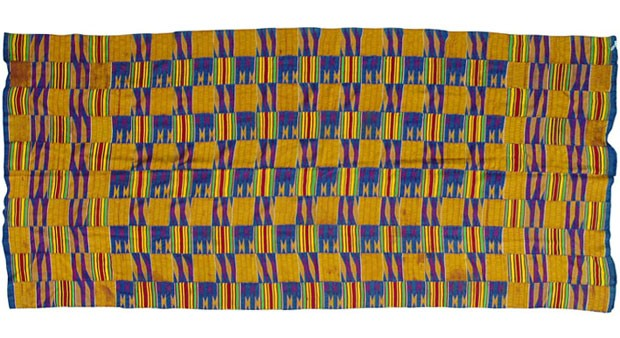 Pano Kente, da tribo ashanti, do Gana, 100% algodão, com tear manual, 1,05 x 1,65 m, na Katmandu, R$ 720