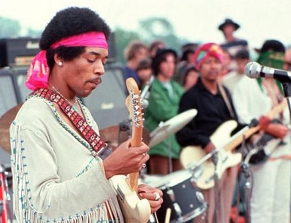 Jimi Hendrix no Festival de Woodstock — Foto: Divulgação