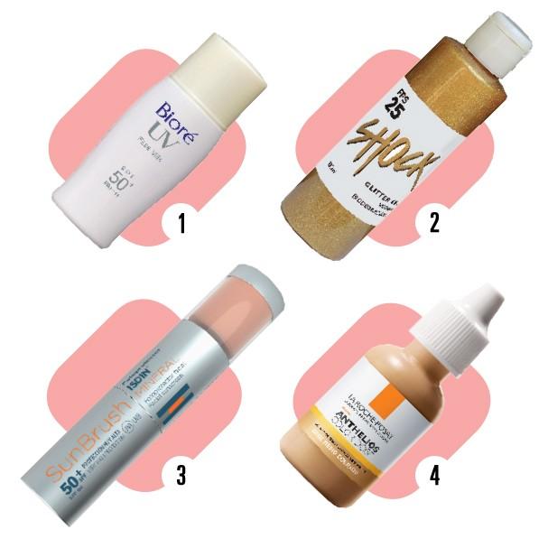 1. Made in Japan, pode ser usado como primer. UV Face Milk, Bioré, R$ 69; 2. O glitter biodegradável dá aquele brilho show. Glitter Gel Dourado, Shock, R$ 45 ; 3. Em pó, pode ser usado depois do make. SunBrush Mineral, ISDIN, R$ 99; 4. Pigmento para misturar com o protetor solar. Anthelios Color Dose, La Roche-Posay, R$ 50 (Foto: divulgação)