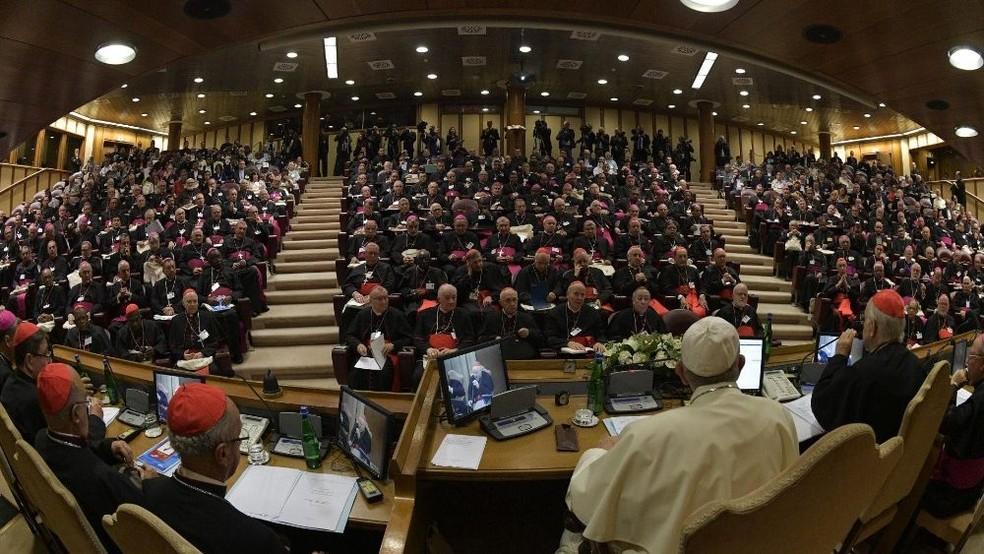 Papa Francisco com os participantes da assembleia especial do Sínodo dos Bispos sobre a Amazônia — Foto: Divulgação/Vatican News