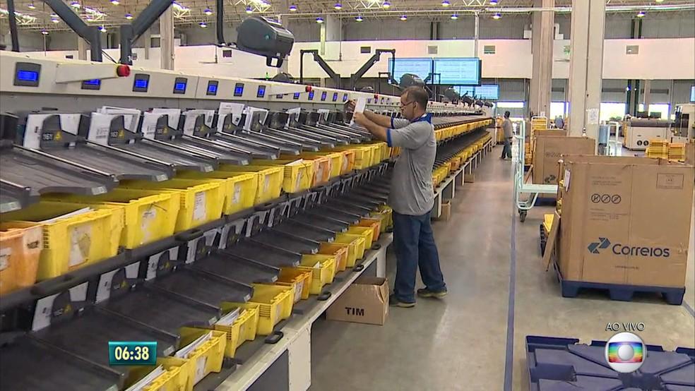 Novo centro de distribuição dos Correios no Recife (Foto: Reprodução/TV Globo)