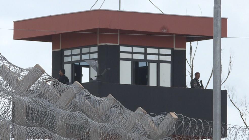 Guarita na Penitenciária Federal do DF — Foto: Reprodução/TV Globo