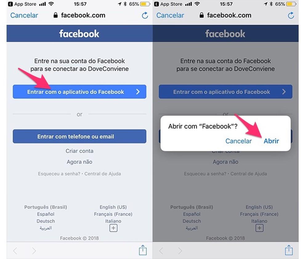 Ação para continuar o login pelo Facebook no aplicativo AondeConvem (Foto: Reprodução/Marvin Costa)