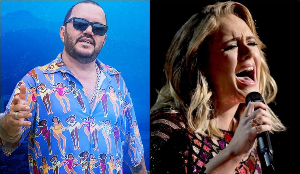 O compositor Toninho Geraes vai processar Adele por suposto plágio da música 'Mulheres' em 'Million years ago' — Foto: Reprodução/Facebook Toninho Geraes; Matt Sayles/Invision/AP