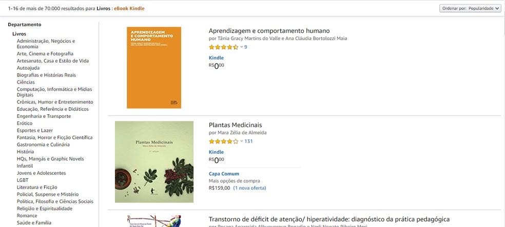 Amazon libera versão digital de livros gratuitamente — Foto: Reprodução/Guilherme Ramos