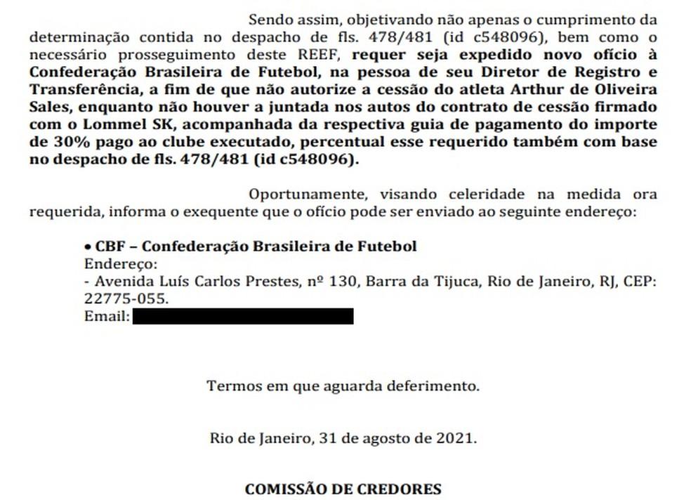 Pedido de penhora da venda de Arthur Sales pelo Vasco — Foto: Reprodução