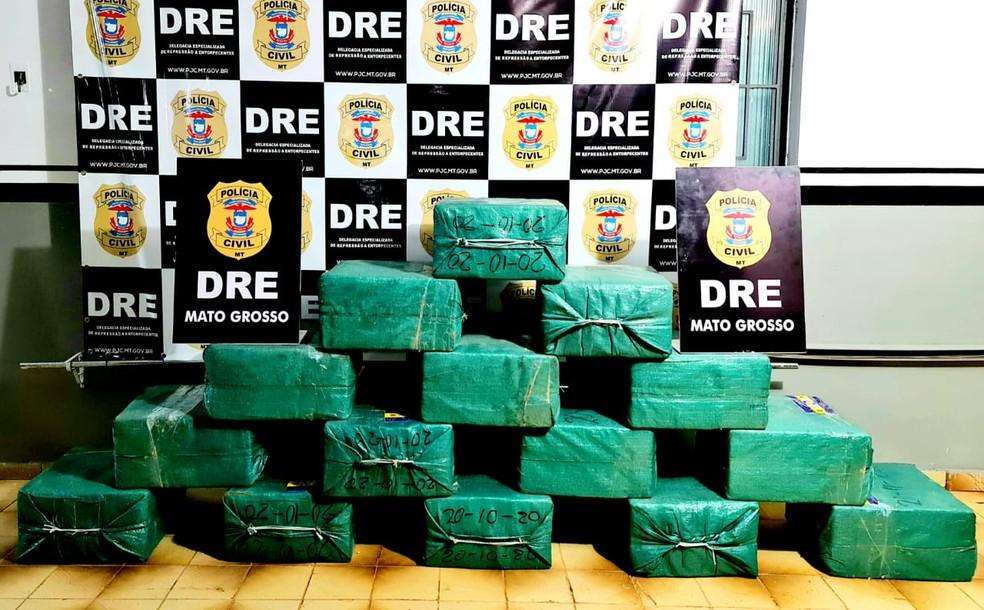Motorista é preso com 750 kg de cocaína escondidos em carga de milho de caminhão em Mato Grosso — Foto: Polícia Civil de Mato Grosso
