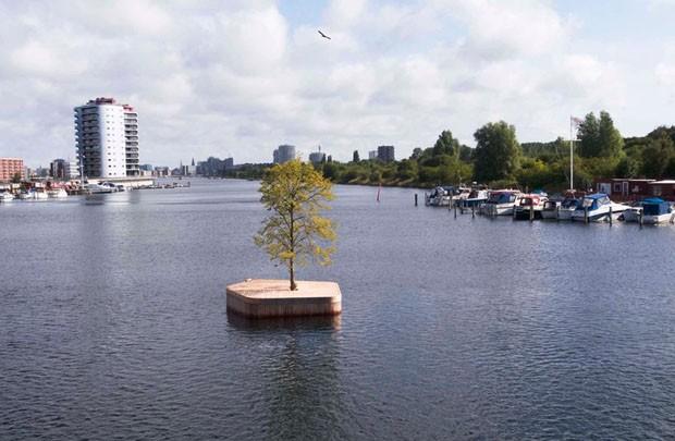 Ilhas artificiais se tornam espaços públicos flutuantes em Copenhague (Foto: Divulgação)