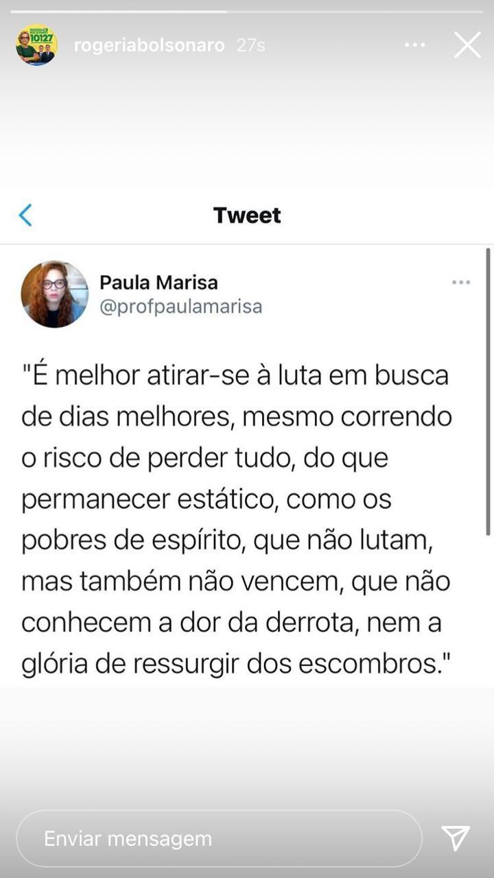 Publicação de Rogéria Bolsonaro no Instagram
