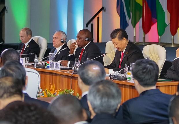 Presidente da República, Michel Temer participa da reunião dos Chefes de Estado e de Governo do BRICS com os países do BRICS Outreach África. (Foto: Divulgação)