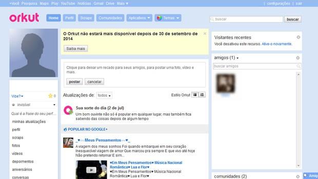 Layout dos perfis de usuários no Okut. (Foto: Reprodução/Orkut)