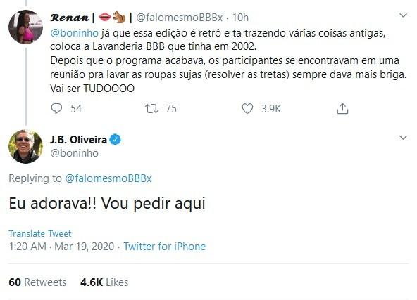 Tweet de Boninho sobre 'Lavanderia BBB' (Foto: Reprodução)