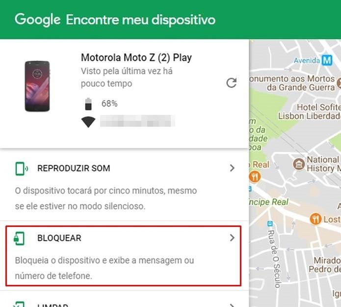 O serviço do Google permite bloquear o dispositivo remotamente (Foto: Reprodução/Taysa Coelho)