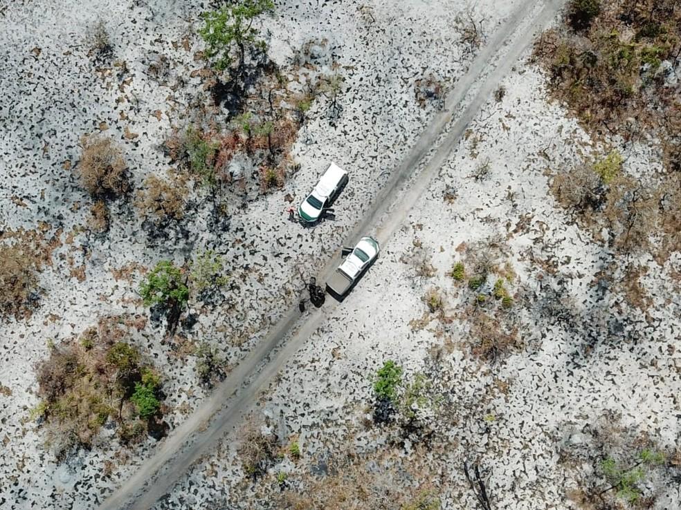 Imagem mostra resultado das queimadas na Terra Indígena (TI) Areões, no município de Nova Nazaré (MT) — Foto: Ibama/Divulgação