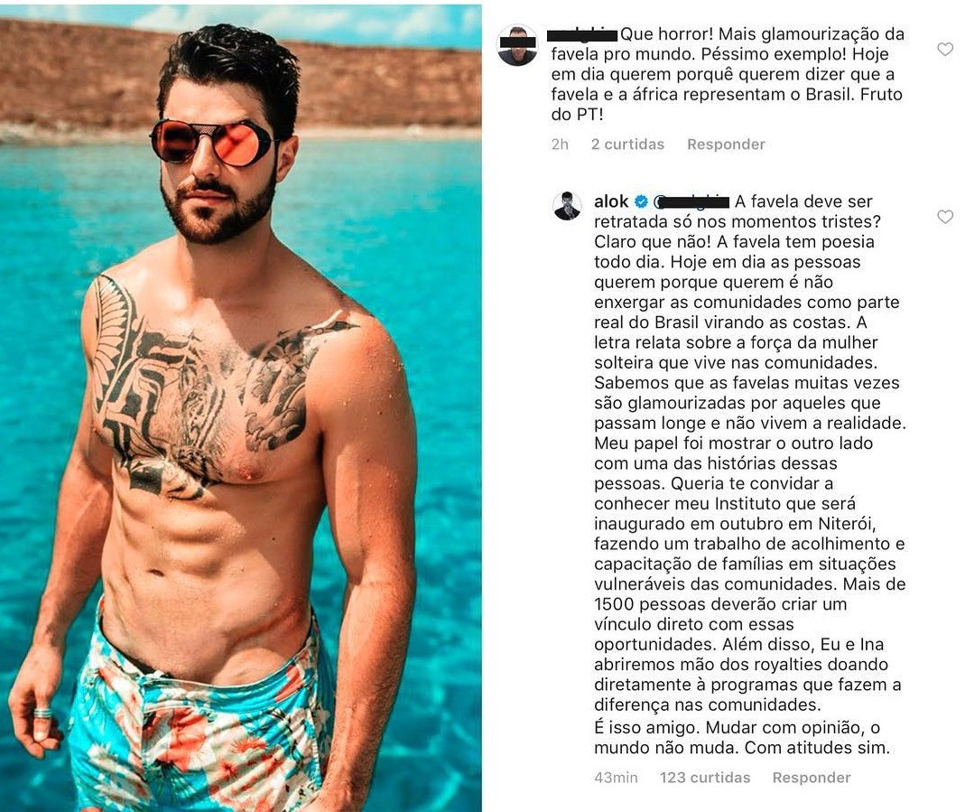 """Alok respondeu critica que seguidor fez sobre seu novo clipe """"Favela"""" (Foto: Reprodução / Instagram)"""