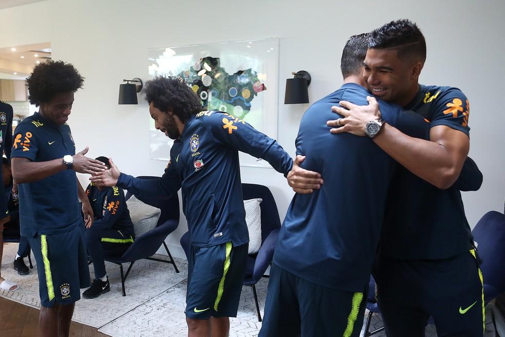 Marcelo e Casemiro se apresentaram à seleção brasileira (Foto: Lucas Figueiredo/CBF)