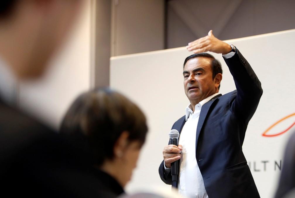 Carlos Ghosn, comandante da aliança Renault-Nissan-Mitsubishi, durante a feira de tecnologia CES, em Las Vegas, em janeiro (Foto: Steve Marcus/Reuters)