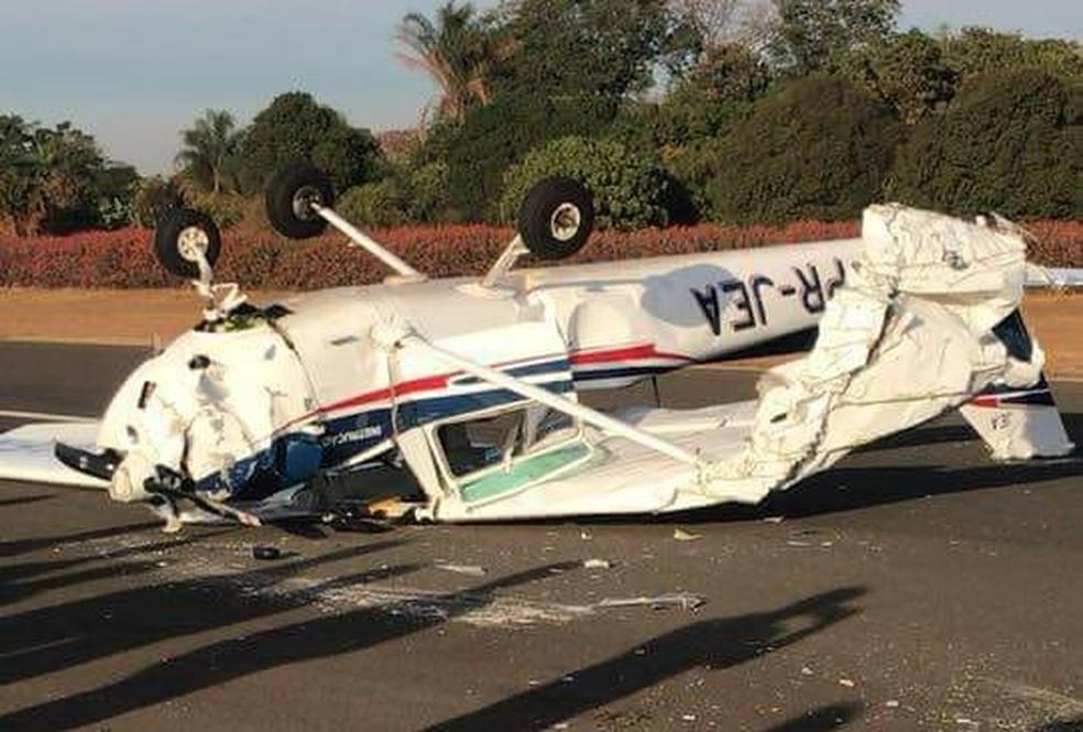Incidente em Itápolis aconteceu durante aula do curso de formação de pilotos  (Foto: Gileno RDD/ Divulgação )
