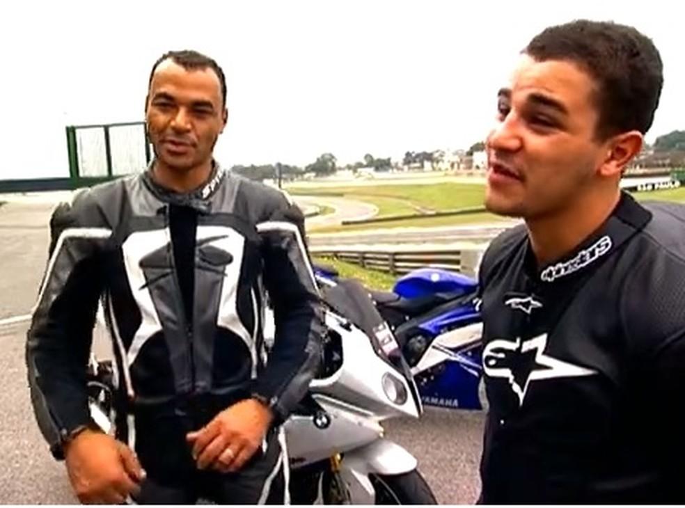 Danilo participou com Cafu, em 2012, de uma corrida de moto em Interlagos — Foto: reprodução