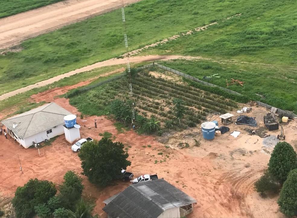 Invasão ocorreu em fazenda no Distrito de Santo Antônio do Rio Bonito, na região de Nova Ubiratã — Foto: Ciopaer/Divulgação