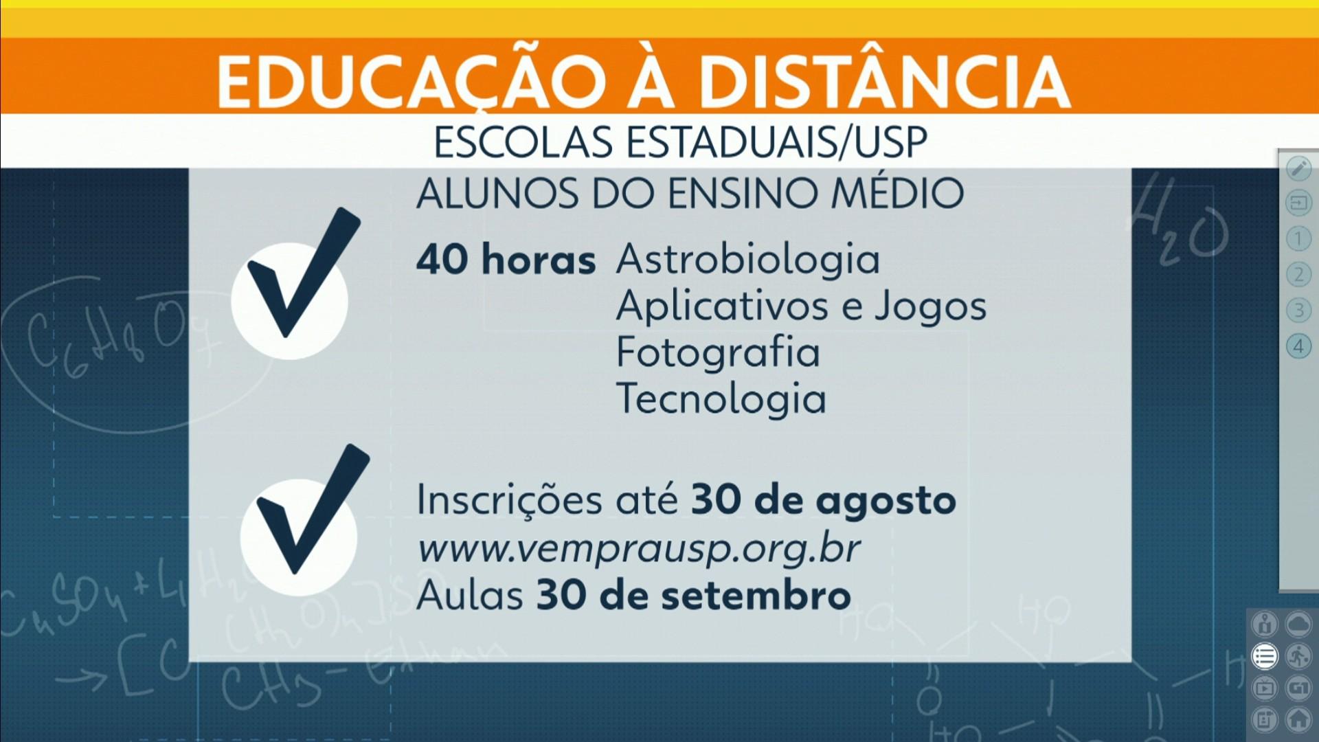USP oferece 18 mil vagas em cursos à distância para alunos da rede estadual - Notícias - Plantão Diário
